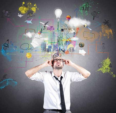 Konzept der kreativen Idee von einem Geschäftsmann