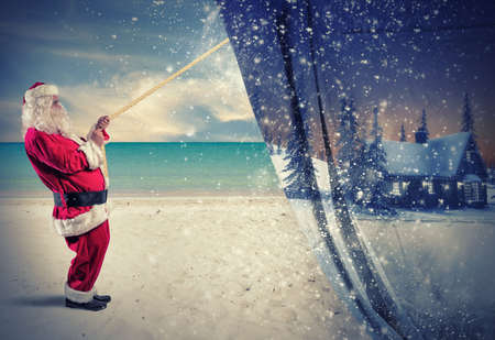 snow and trees: Santa Claus pulls the winter  to make change to summer