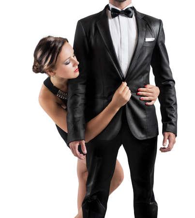 femme sexe: Adoration un homme d'affaires par une belle fille
