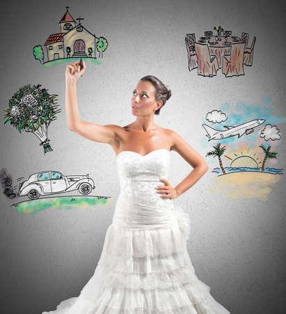 Eine Frau ordnet ihre Ehe mit einer Projektskizze Standard-Bild - 31760234