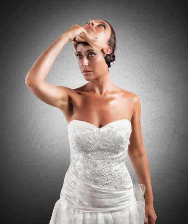 falsity: Concept of falsity of a wife with a mask Stock Photo