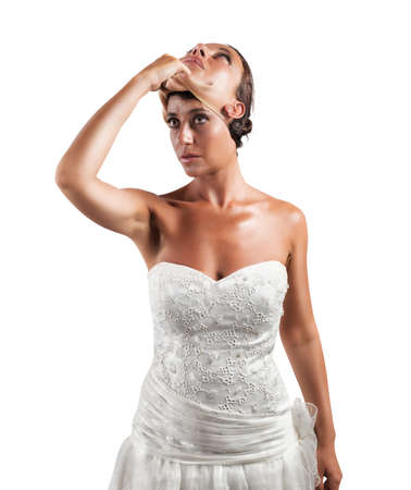 insincerity: Concept of falsity of a wife with a mask Stock Photo