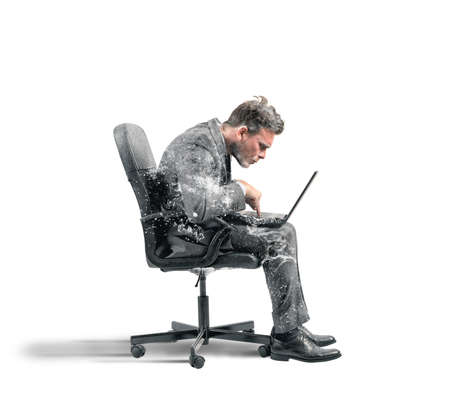 hibernate: Concept of internet addiction with frozen businessman Stock Photo