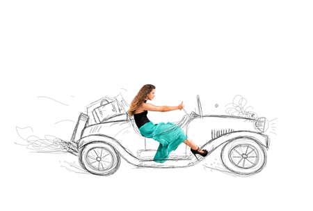 Fashion girl that drives a sketch of car