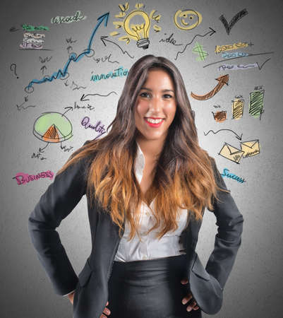 think about: Creative businesswoman think about new ideas Stock Photo