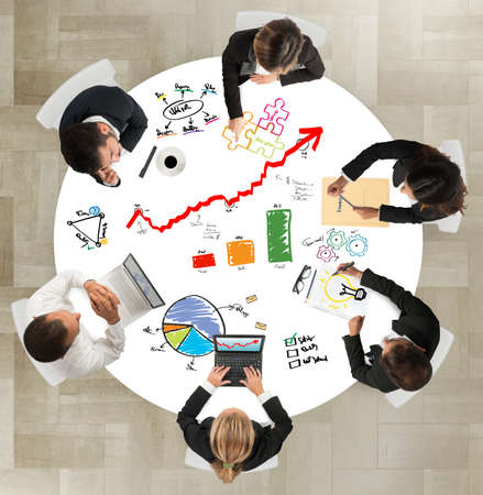 사업의 팀워크는 성공적인 프로젝트에서 작동 스톡 콘텐츠