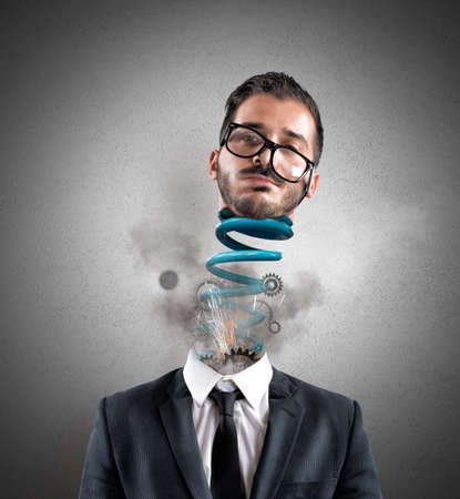 stressed businessman: Concept of stress of a exhausted businessman at work