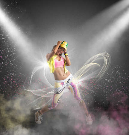 exertion: Modern dancer of a girl with motion effect