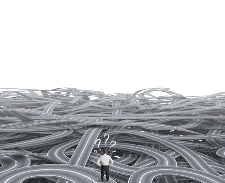 Concept of a businessman in front of a confusion of road photo