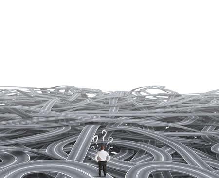 confused person: Concepto de un hombre de negocios frente a una confusi�n de carretera