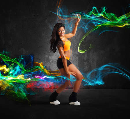 Modern dancer of a girl with motion effect photo