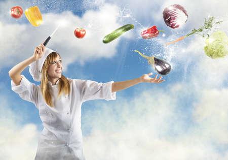 Chef prepares a recipe as a sorceress photo