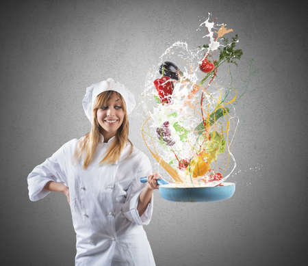 Tasty recipe of a young girl chef photo