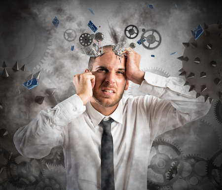 delusion: Stress explosion concept with exhausted businessman