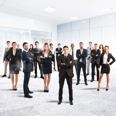 team strategy: Concept of partnership and teamwork with businesspeople Stock Photo