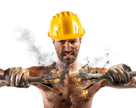 electrifying: Electric shock of a man during work Stock Photo
