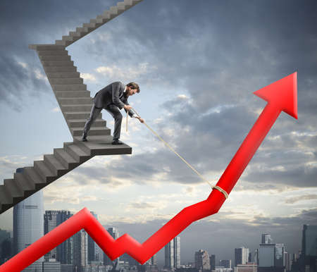 future earnings: Businessman helps with success his company statistic