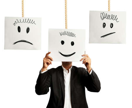 POSITIVE NEGATIVE: Businessman selects the right positive expression