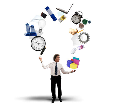 A Juggler businessman play with business objects photo