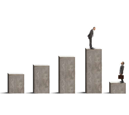Concept of success and failure with businessman on statistics bar photo