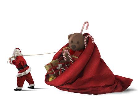 pull toy: Papá Noel tira de un gran saco de regalos Foto de archivo