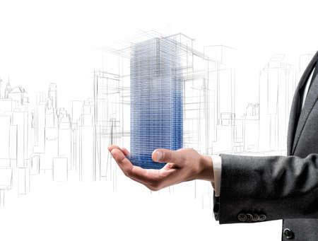 Architecte montrant un projet futuriste d'un immeuble Banque d'images - 33565537