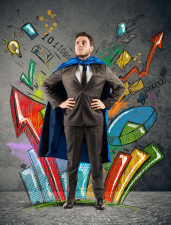 Zakenman als held van statistieken en diagrammen Stockfoto