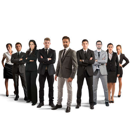 company employee: Concept of teamwork and partnership with a group of businessperson Stock Photo