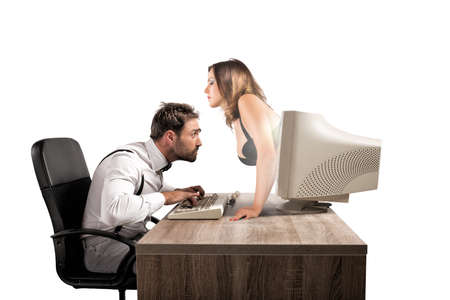 sex girl: Concept of sexy chat with a woman that exit from a monitor