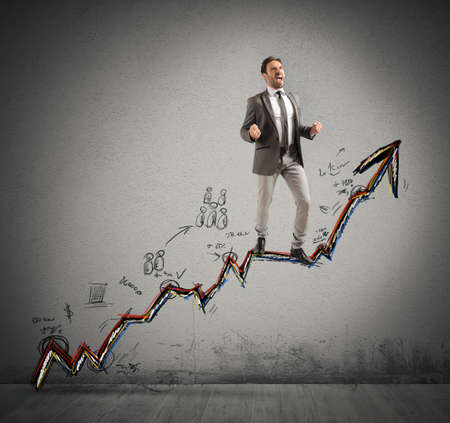 gets: A businessman gets success in his work Stock Photo
