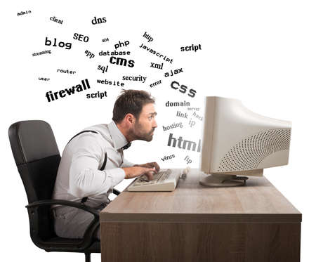 difficult to find: Businessman at work tries to understand internet terms Stock Photo