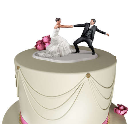 topper: Concept of Escape from marriage over the cake