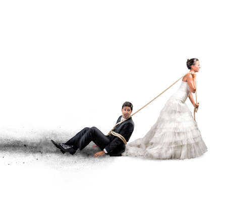 escape: Funny concept of bound and trapped by marriage