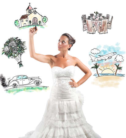 A woman arranges her marriage with a draft project Stock Photo