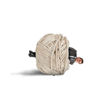 submissive: Concept of crisis and problem with trapped businessman