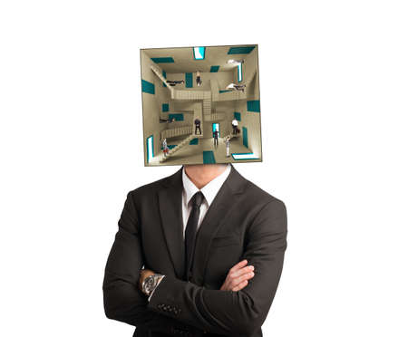Concept of confusion man with a complex room for a head photo