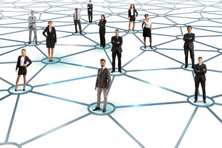 Social network concept with a group of a businesspeople