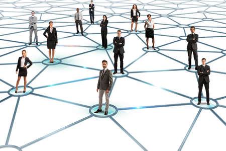 negocio: Concepto de red social con un grupo de empresarios de un