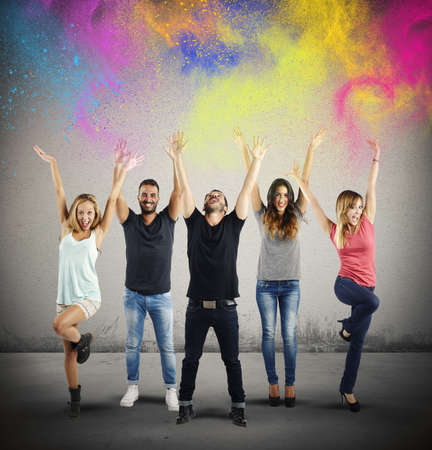 astonished: Boys and girls happy together with colors