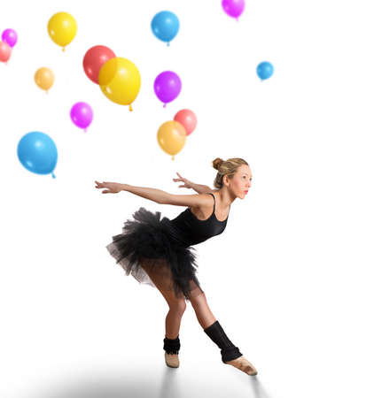dancing girl: Girl dancing with colorful balloons on white background