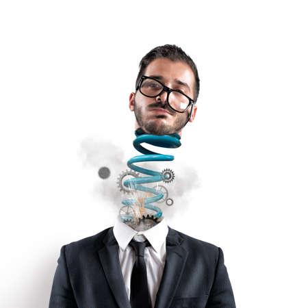 Concept van de stress van een zakenman op het werk uitgeput
