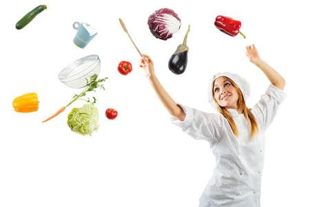 아름 다운 요리사는 요리의 멜로디 스톡 콘텐츠