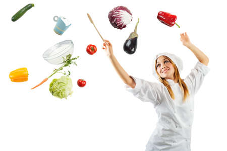 Melody in cooking with a beautiful chef photo