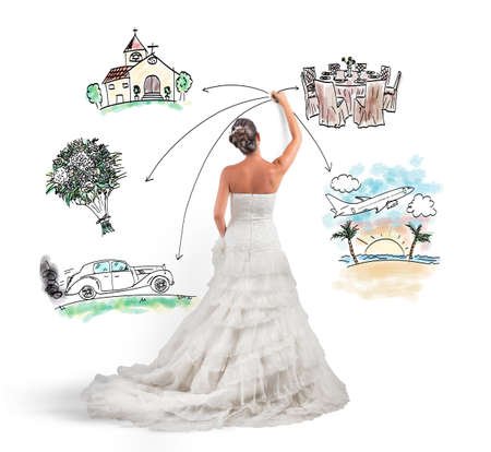 A woman arranges her marriage with a draft project Standard-Bild