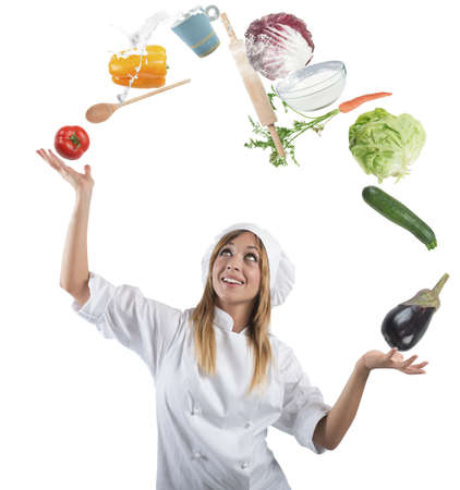 farina: Juggler chef play with some ingredients and kitchen tools
