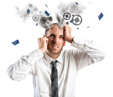 failure: Stress explosion concept with exhausted businessman