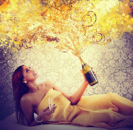 nude girl: Luxurious moments for a special New Year Stock Photo
