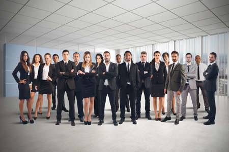 partnership strategy: Business people working together as great team Stock Photo