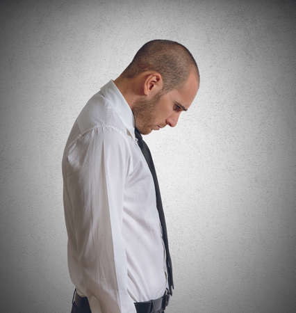 discontented: Businessman discouraged and saddened by his failures