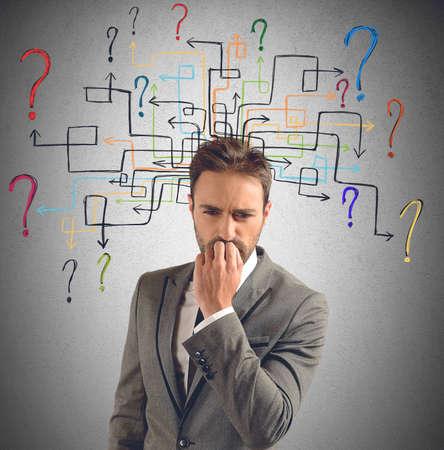 interrogativa: El hombre de negocios piensa en soluciones para sus dudas
